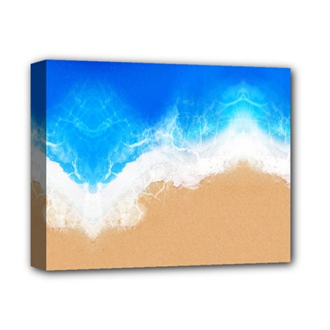 Sand Beach Water Sea Blue Brown Waves Wave Deluxe Canvas 14  X 11  by Mariart