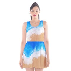 Sand Beach Water Sea Blue Brown Waves Wave Scoop Neck Skater Dress