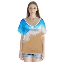 Sand Beach Water Sea Blue Brown Waves Wave Flutter Sleeve Top