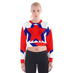 Stars Red Blue Cropped Sweatshirt