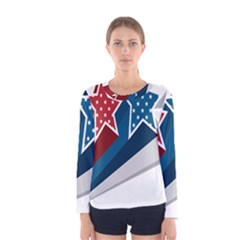 Star Red Blue White Line Space Women s Long Sleeve Tee by Mariart