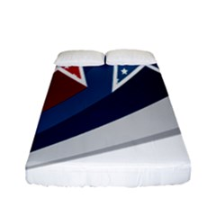Star Red Blue White Line Space Fitted Sheet (full/ Double Size) by Mariart