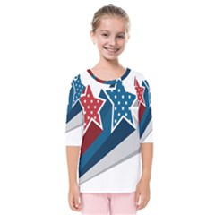 Star Red Blue White Line Space Kids  Quarter Sleeve Raglan Tee by Mariart
