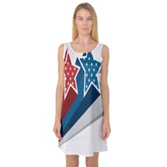 Star Red Blue White Line Space Sleeveless Satin Nightdress by Mariart