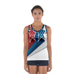 Star Red Blue White Line Space Women s Sport Tank Top  by Mariart