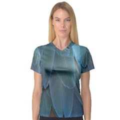Feather Plumage Blue Parrot Women s V Neck Sport Mesh Tee