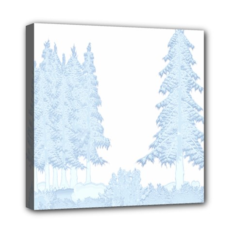 Winter Snow Trees Forest Mini Canvas 8  X 8