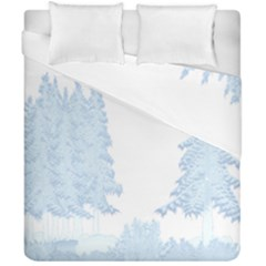 Winter Snow Trees Forest Duvet Cover Double Side (california King Size) by Nexatart