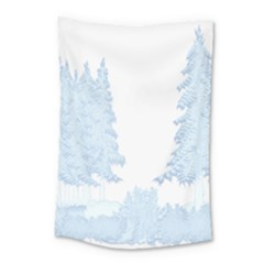 Winter Snow Trees Forest Small Tapestry by Nexatart