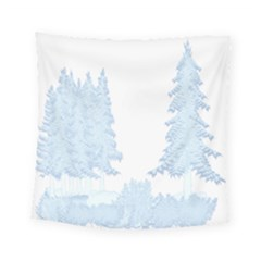 Winter Snow Trees Forest Square Tapestry (small) by Nexatart