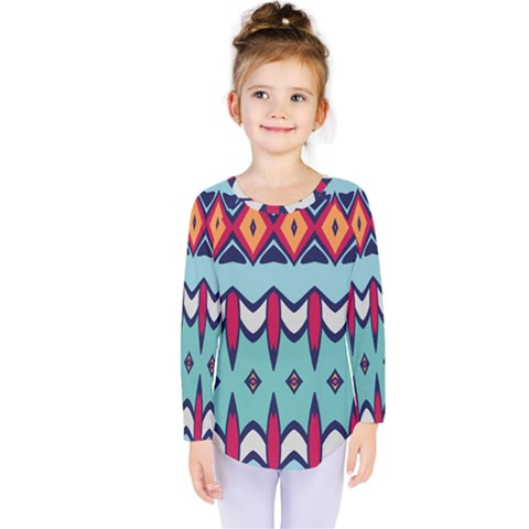 Rhombus Hearts And Other Shapes                Kids  Long Sleeve Tee by LalyLauraFLM