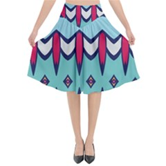 Rhombus Hearts And Other Shapes          Flared Midi Skirt by LalyLauraFLM