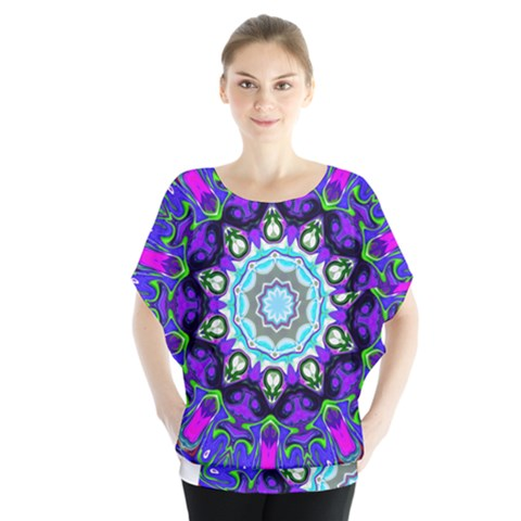 Graphic Isolated Mandela Colorful Blouse by Nexatart