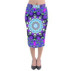 Graphic Isolated Mandela Colorful Velvet Midi Pencil Skirt