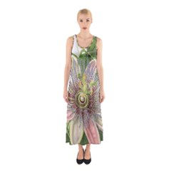 Passion Flower Flower Plant Blossom Sleeveless Maxi Dress by Nexatart