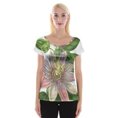 Passion Flower Flower Plant Blossom Women s Cap Sleeve Top