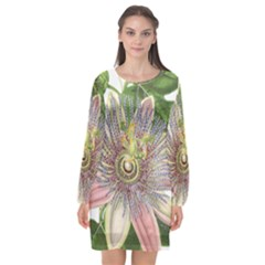 Passion Flower Flower Plant Blossom Long Sleeve Chiffon Shift Dress  by Nexatart