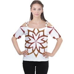 Abstract Shape Outline Floral Gold Women s Cutout Shoulder Tee