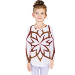 Abstract Shape Outline Floral Gold Kids  Long Sleeve Tee
