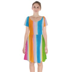 Watercolors Stripes               Short Sleeve Bardot Dress