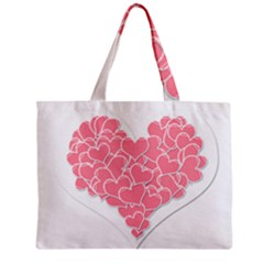 Heart Stripes Symbol Striped Zipper Mini Tote Bag