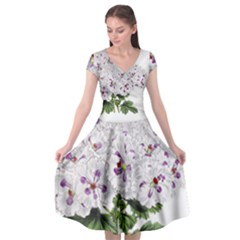 Flower Plant Blossom Bloom Vintage Cap Sleeve Wrap Front Dress