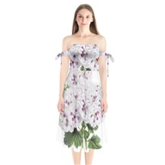 Flower Plant Blossom Bloom Vintage Shoulder Tie Bardot Midi Dress by Nexatart