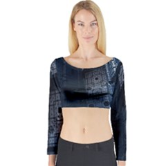 Graphic Design Background Long Sleeve Crop Top