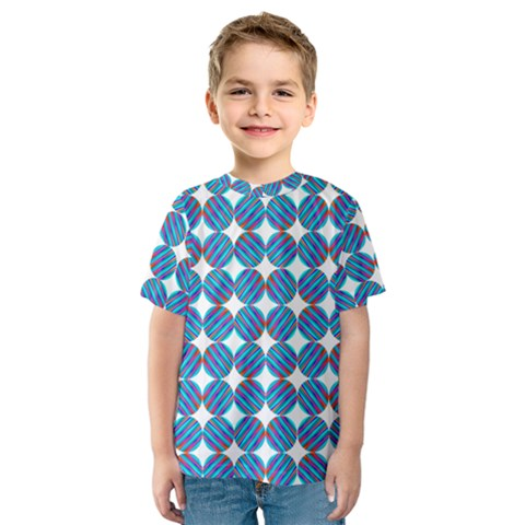 Geometric Dots Pattern Rainbow Kids  Sport Mesh Tee by Nexatart