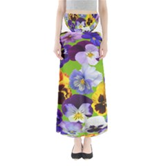 Spring Pansy Blossom Bloom Plant Maxi Skirts by Nexatart