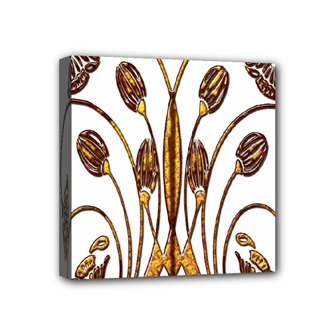 Scroll Gold Floral Design Mini Canvas 4  X 4  by Nexatart