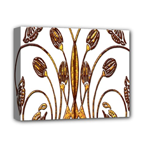 Scroll Gold Floral Design Deluxe Canvas 14  X 11