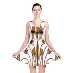 Scroll Gold Floral Design Reversible Skater Dress by Nexatart