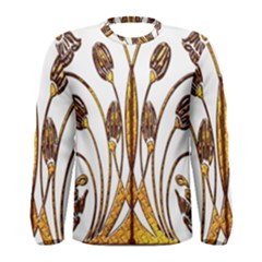Scroll Gold Floral Design Men s Long Sleeve Tee