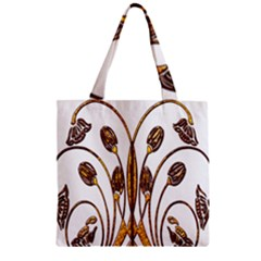 Scroll Gold Floral Design Zipper Grocery Tote Bag