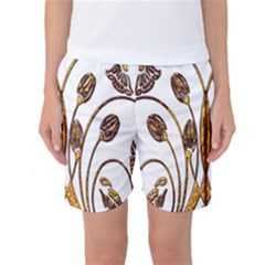 Scroll Gold Floral Design Women s Basketball Shorts