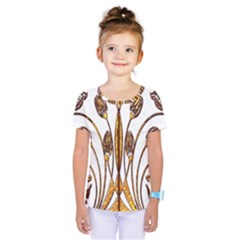 Scroll Gold Floral Design Kids  One Piece Tee
