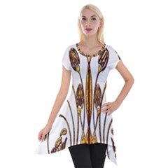 Scroll Gold Floral Design Short Sleeve Side Drop Tunic