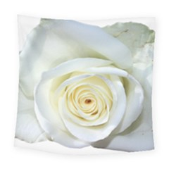 Flower White Rose Lying Square Tapestry (large) by Nexatart