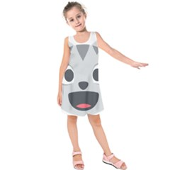 Cat Smile Kids  Sleeveless Dress by BestEmojis