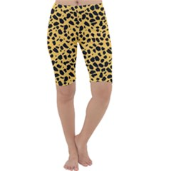 Skin Animals Cheetah Dalmation Black Yellow Cropped Leggings  by Mariart