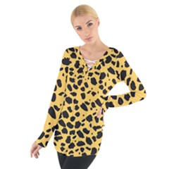 Skin Animals Cheetah Dalmation Black Yellow Women s Tie Up Tee by Mariart