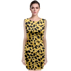 Skin Animals Cheetah Dalmation Black Yellow Classic Sleeveless Midi Dress