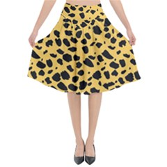 Skin Animals Cheetah Dalmation Black Yellow Flared Midi Skirt