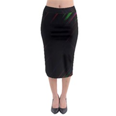 Streaks Line Light Neon Space Rainbow Color Black Midi Pencil Skirt by Mariart