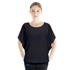 Streaks Line Light Neon Space Rainbow Color Black Blouse by Mariart
