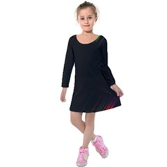Streaks Line Light Neon Space Rainbow Color Black Kids  Long Sleeve Velvet Dress by Mariart