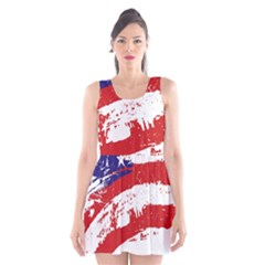 Red White Blue Star Flag Scoop Neck Skater Dress
