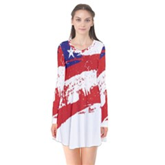 Red White Blue Star Flag Flare Dress by Mariart