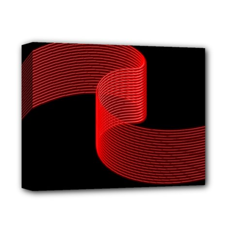 Tape Strip Red Black Amoled Wave Waves Chevron Deluxe Canvas 14  X 11  by Mariart